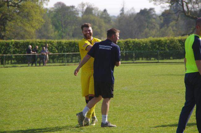 North Leigh captain Ben Brown and joint manager Craig Dore are all smiles after last week's win over Barton Rovers. They are hoping for more reasons to celebrate tomorrow afternoonPicture: North Leigh FC