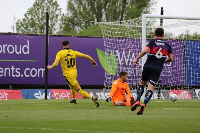 Marcus Browne scores Oxford United's first goal against Doncaster Rovers  Picture: Steve Daniels