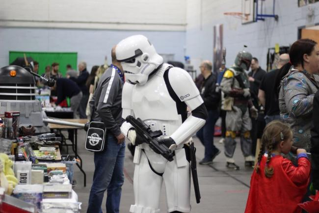 Stormtrooper looks for a bargain at Thames Con. Picture: Abbie Chilton