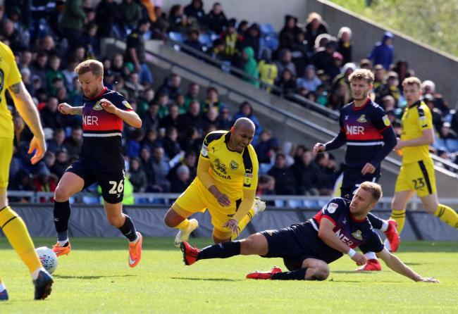 Rob Hall is fouled for the first time on his return from injury   Picture: Steve Daniels.