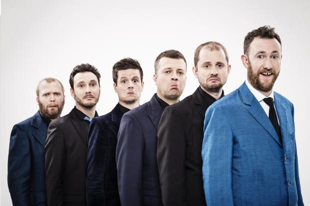 Alex Horne and the Horne Section. Left to right, Joe Auckland, Ed Sheldrake, Ben Reynolds, Mark Brown, Will Collier and Alex Horne