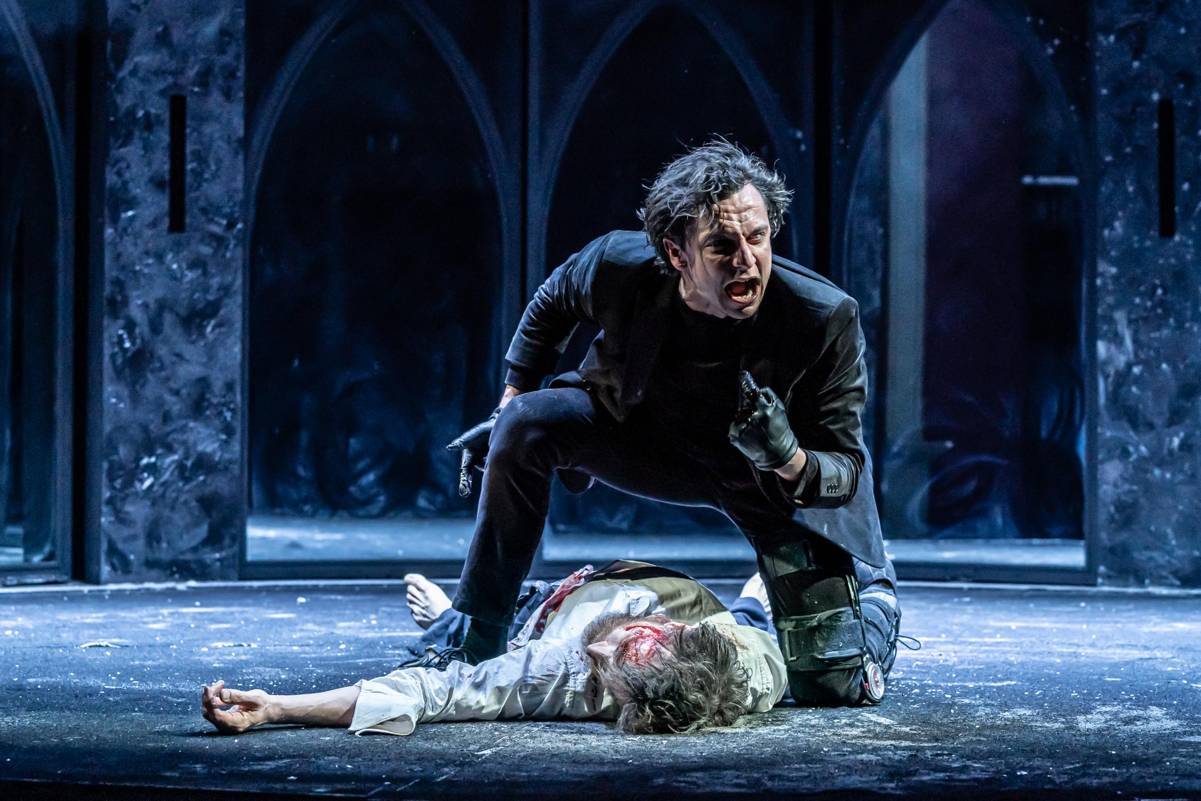 Tom Mothersdale and John Sackville in Richard III. Picture by Marc Brenner