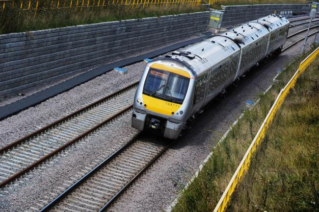 A train between Oxford Parkway and Oxford stations. Picture: Jon Lewis