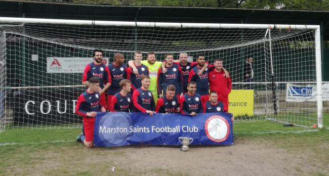 Marston Saints' victorious squad with the President's Cup after beating Cropredy 3-1 in the final at Eynsham Park