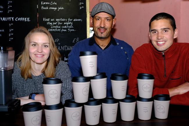 (L-R): Co-Cup founders Ina Bierylo (left) and Julian Godding (right) at a launch with Karin Rachdi, from Handlebar Cafe, in St Michael's Street, Oxford. Picture: Ric Mellis