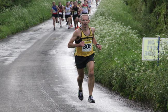James Bolton enjoys this healthy lead during the early stages, but the Woodstock Harrier was caught by Dan Blake with 400 yards to go and was denied victory in the opening race of the Mota-vation Series Picture: Barry Cornelius