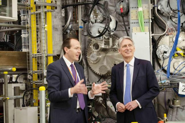 Ian Chapman, UKAEA CEO, shows Chancellor Philip Hammond the MAST Upgrade fusion experiment at Culham Science Centre Picture: UKAEA