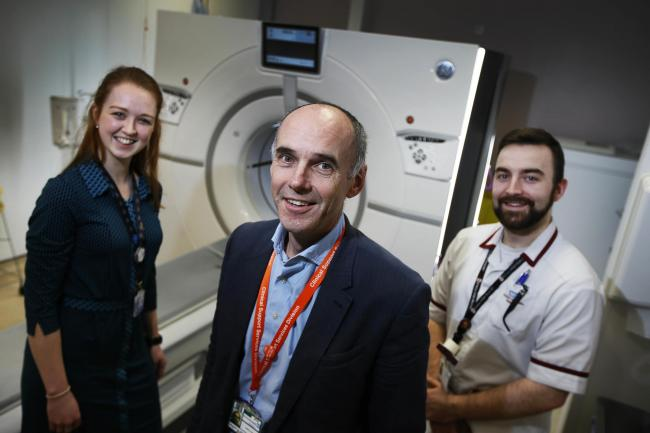 The Churchill Hospital which has been selected to trial new fast track cancer diagnosis centres. .L-R: Julie-Ann Phillips (Scan Navigator), Prof Fergus Gleeson and Jonny Simmonds Senior Radiographer..3.4.2018.Picture by Ed Nix.