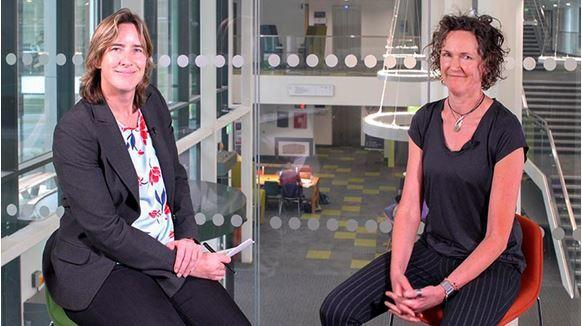 Dame Katherine Grainger, Chancellor Oxford Brookes University Professor Helen Dawes.