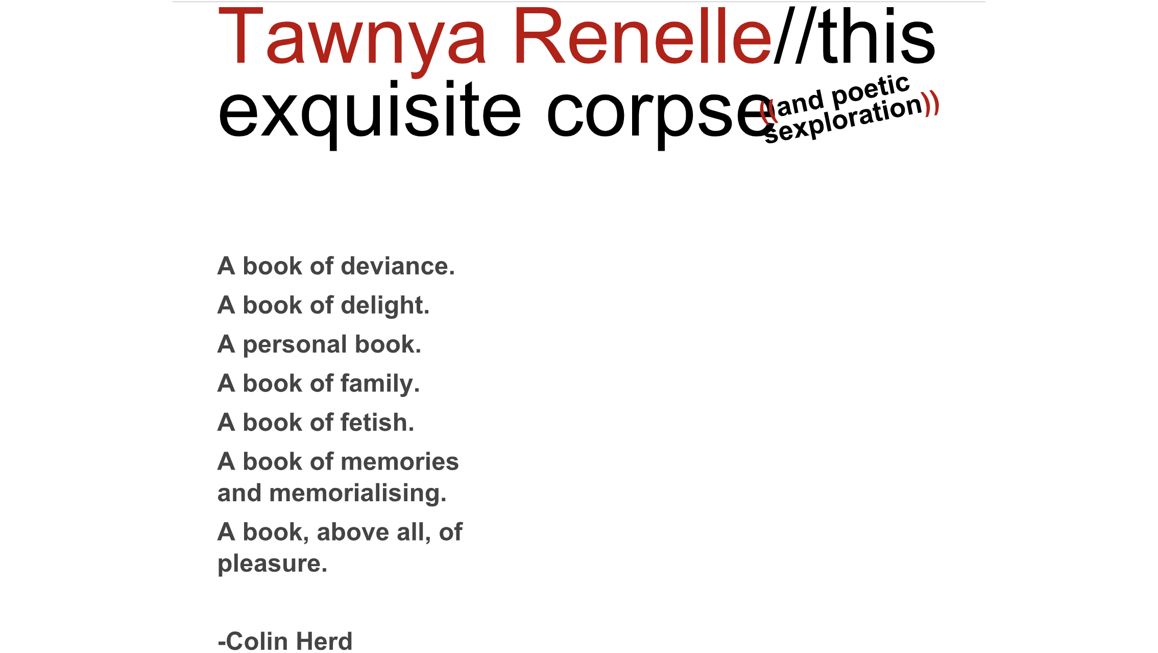 "Tawnya Renelle brings her new book ""this exquisite corpse"" to Oxford"