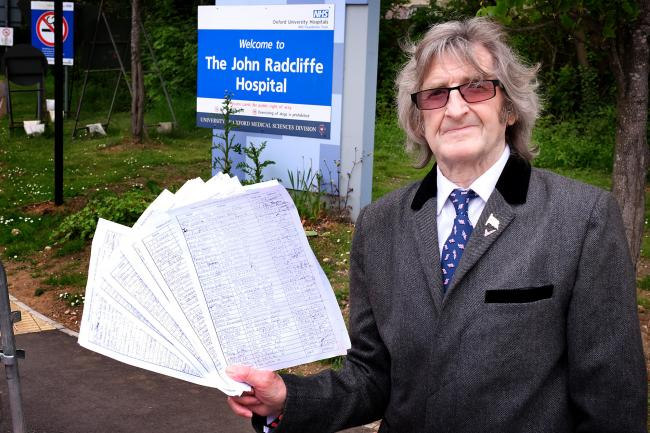 Councillor Mick Haines with the 500-signature petition he's going to present to the hospital management calling for a multi-storey car park to be built at the JR.Picture: Ric Mellis.17/5/2019.