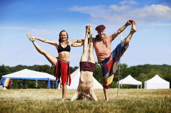 Om & Bass yoga and reggae festival at Brazier's Park near Wallingford.L-R: Festival Organiser Rach Cox, Dotty Clay and Roger Gong.6.7.2018PICTURE BY ED NIX