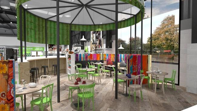 The cafe at the new Oxfam superstore will be under a giant recycled water tank – just like the ones the charity uses in overseas emergencies. Pics from Oxfam