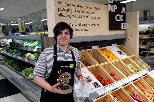 Max de la Mare at the Waitrose store in Botley Road, Oxford - the first in the country to run a trial of greatly reduced plastic packaging and re-fillable containers..Picture: Ric Mellis.3/6/2019.