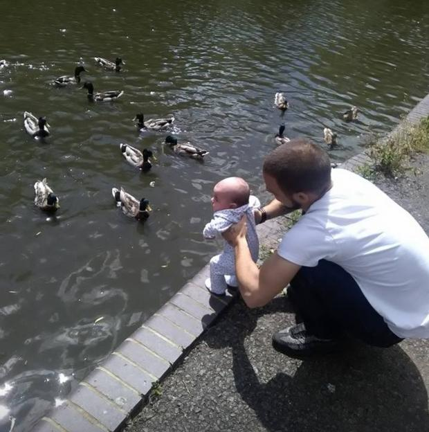 Oxford Mail: A young Isla-Rose meets some ducks with Dad Danny