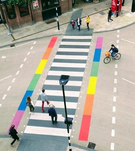 The rainbow-coloured pedestrian crossing in New Road Picture Oxfordshire County Council