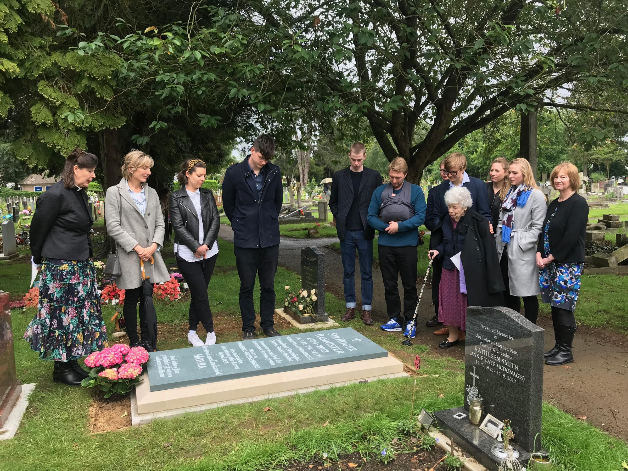 Sir Roger Bannister headstone installed at Wolvercote Cemetery